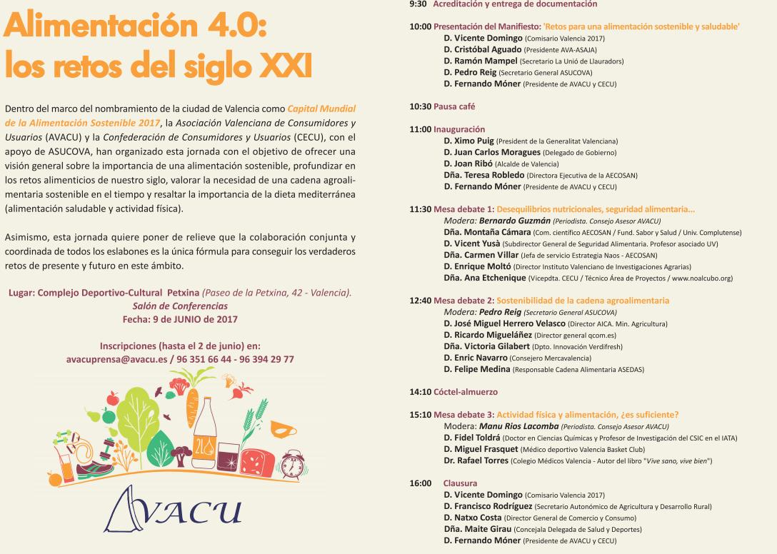 """Jornada """"ALIMENTACIÓN 4.0: LOS RETOS DEL SIGLO XXI"""" 09 de junio de 2017"""